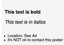 Craigslist Screen Cap Bold Italics