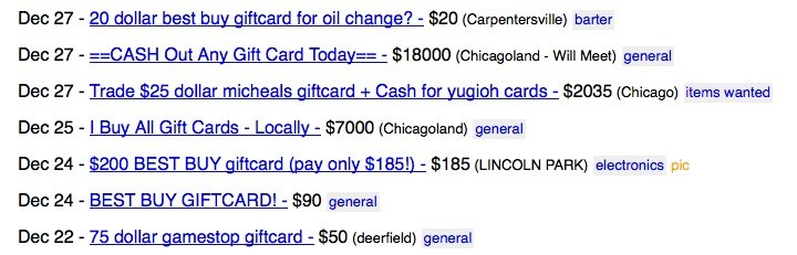 gift card craigslist screencap