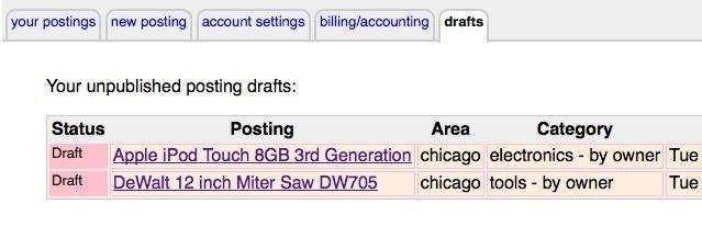 craigslist posting drafts